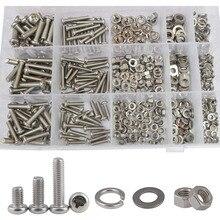 M2 M3 M4 M5 M6 Pan Head Machine Screw Phillips Cross Round Metric Bolt Nut Flat Lock Washer Assortment Kit 304Stainless Steel
