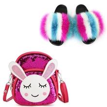 Slippers Kids Shoe-Bag-Set Slides Sandals Plush Baby-Girl Rabbit Cute Cartoon Fur Backpacks