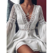 Sexy Crochet Lace V-Neck Mini Dress 2020 Summer Flare Sleeve Chiffon Beach Sundress Elegant Women Dress Party Sexi