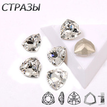 Crystal Colors Glass Material Sew On Rhinestones With Gold /silver Claw Pointback DIY White Rhinestone For Garment