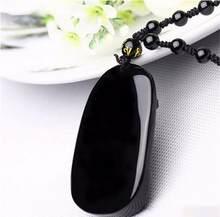 Collier avec pendentif Dragon obsidienne noir sculpté, amulette + perles porte-bonheur pour hommes, bijoux en gros pour h