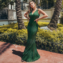 Sexy Mermaid Women Dress Sequined Double V-Neck Sleeveless Bodycon Maxi Ladies Sparkle Party Gowns Lange Jurken 2019