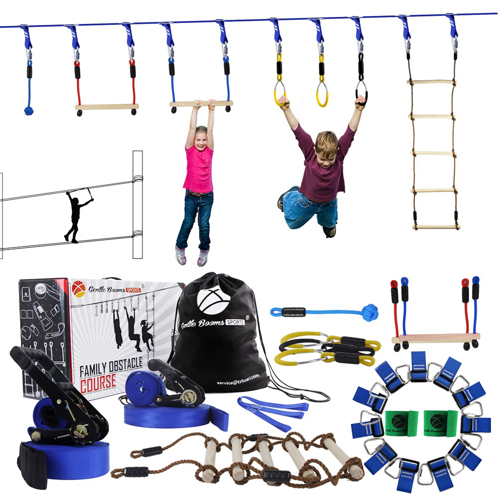 Ninja Line Hanging Obstacle Course Ninja Warrior Playground Outdoor Training Equipment 15 Meter Slackline With Garden Games Toys