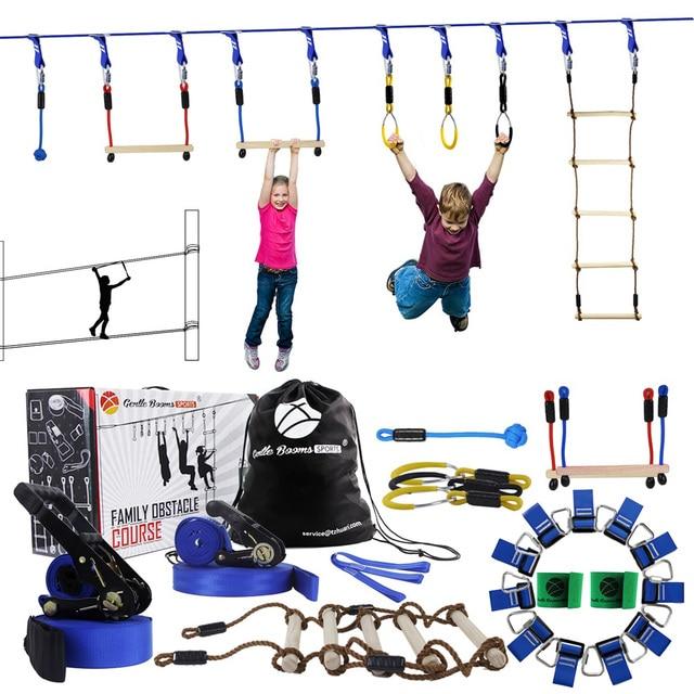 GRT Fitness Ninja-Line-Hanging-Obstacle-Course-Ninja-Warrior-Playground-Outdoor-Training-Equipment-15-Meter-Slackline-With-Garden Hanging Obstacle Course - Ninja Warrior Playground Outdoor Training Equipment