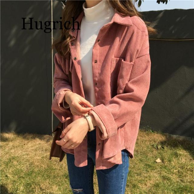 2020 Spring and autumn Loose Shirts Korean Solid Blouse Long Sleeve Corduroy blouses Women Tops outwear coats 2