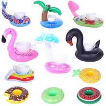 Aufblasbare Tasse Halter Einhorn Flamingo Trinken Halter Schwimmen Pool Float Bade Pool Spielzeug Party Dekoration Bar Untersetzer(China)