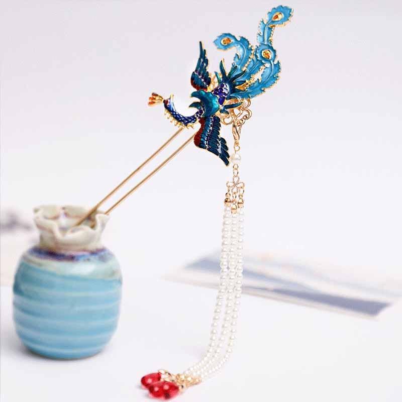 1 Pair Chinese Retro Style Metal Phoenix Hairpins Clips Handmade Hair Stick Bride Hanfu Dress Wedding Hair Accessories FORSEVEN