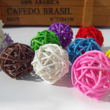 10pcs/bag 3cm Vintage Wicker Cane Ball Christmas Home Gardens Patio Ornament DIY Decoration Materials