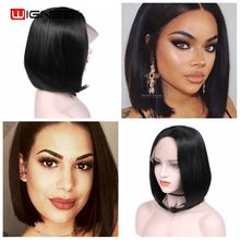 цена на Wignee Short Bob Lace Wigs Synthetic For Black Women Heat Resistant Natural Black Straight Grace Hair African American Bob Wigs