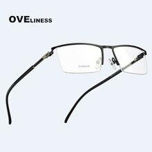 Titanium Alloy Prescription Glasses Frame for Men Half Square Eyeglasses Myopia Eye Glass Man Optical Screwless Eyewear Frames