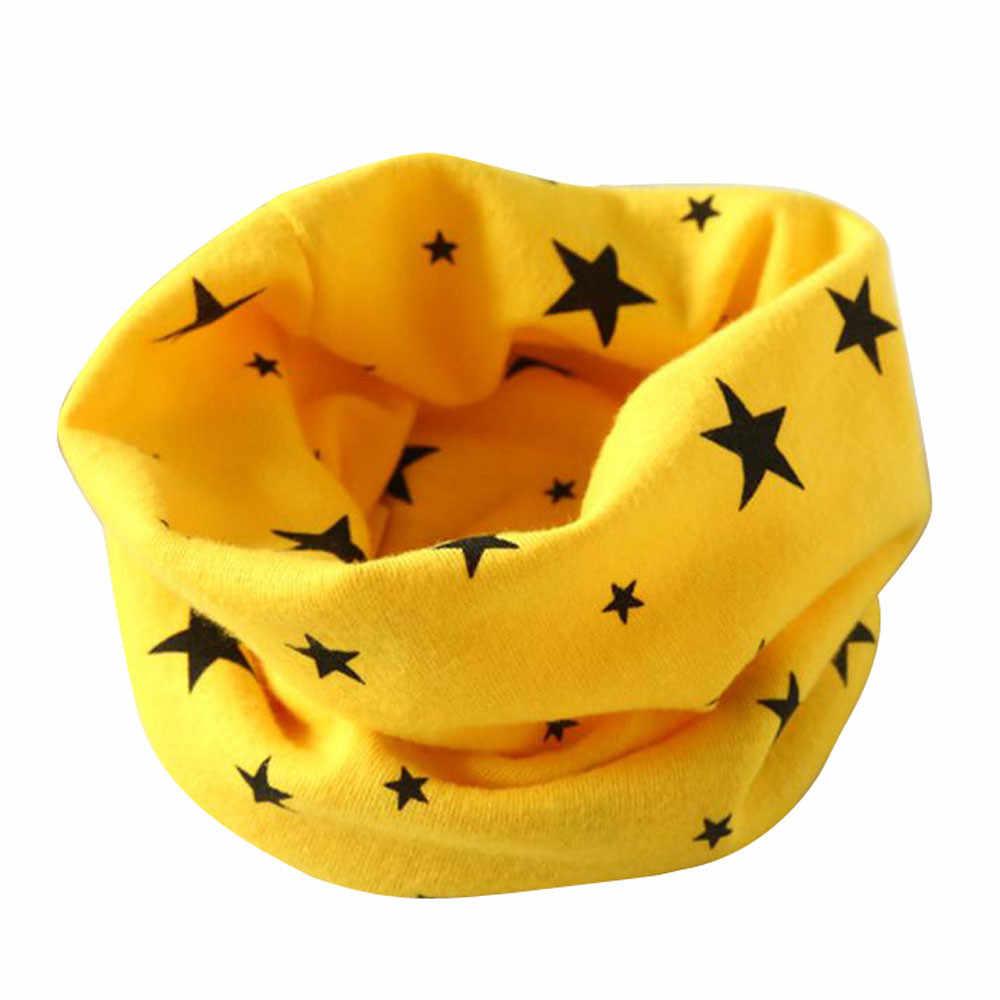 חדש טרנדי ילד ילדה סתיו חורף צווארון תינוק צעיף כותנה O טבעת צוואר צעיפי מזל כוכב הדפסת עבור ילד צעיף