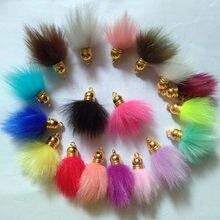 Fuyier 19 cores mini pompon falso coelho bola de pele diy jóias peças pingente para saco corrente cortina borla artesanato artesanal 20 pçs