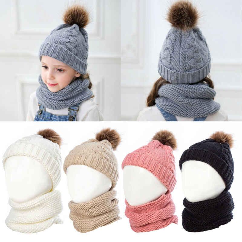 2Pcs Neue Kleinkind Kinder Baby Mädchen Hut Winter Warm Pom Knit Beanie Ski Kappe Bobble Hut + Halstuch Anzug mode 2019