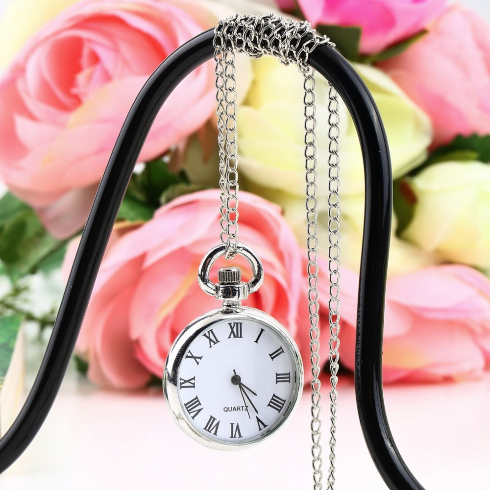 Fashion Quartz Round Pocket Watch Dial Vintage Necklace Silver Chain Pendant Antique Style 2017 Stylish Pretty Gift New Arrivals