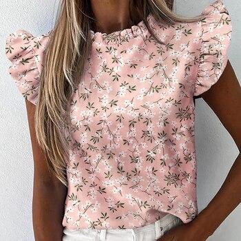 Women Pineapple Floral Print Ruffle Blouse 2020 Summer Butterfly Sleeve Shirt Elegant Office Lady O-Neck Tops Blusa Streetwear daisy print ruffle trim blouse