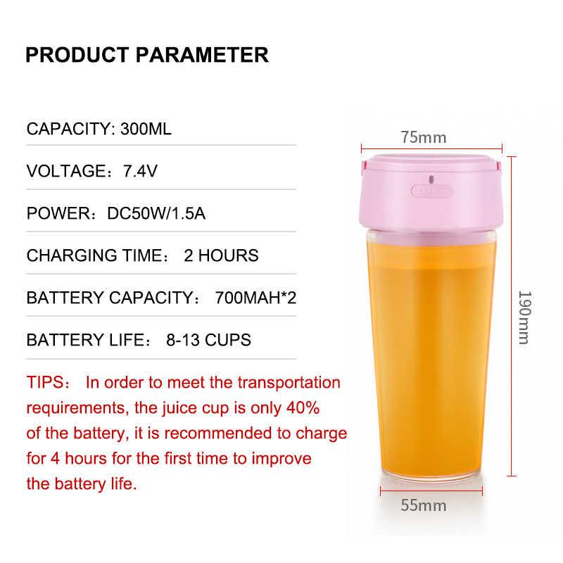 300ML Portátil Copo Pequeno Espremedor de Frutas Liquidificador Processador de Alimentos Mixer 40 Segundos Delicioso DIY