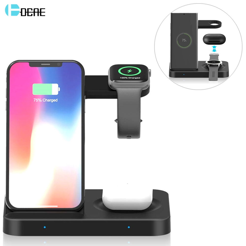15W Qi Wireless Charger Stand for Samsung S20 Galaxy Watch 5 in 1 Fast Charging Dock Station For iPhone 11 8 Airpods Pro iWatch
