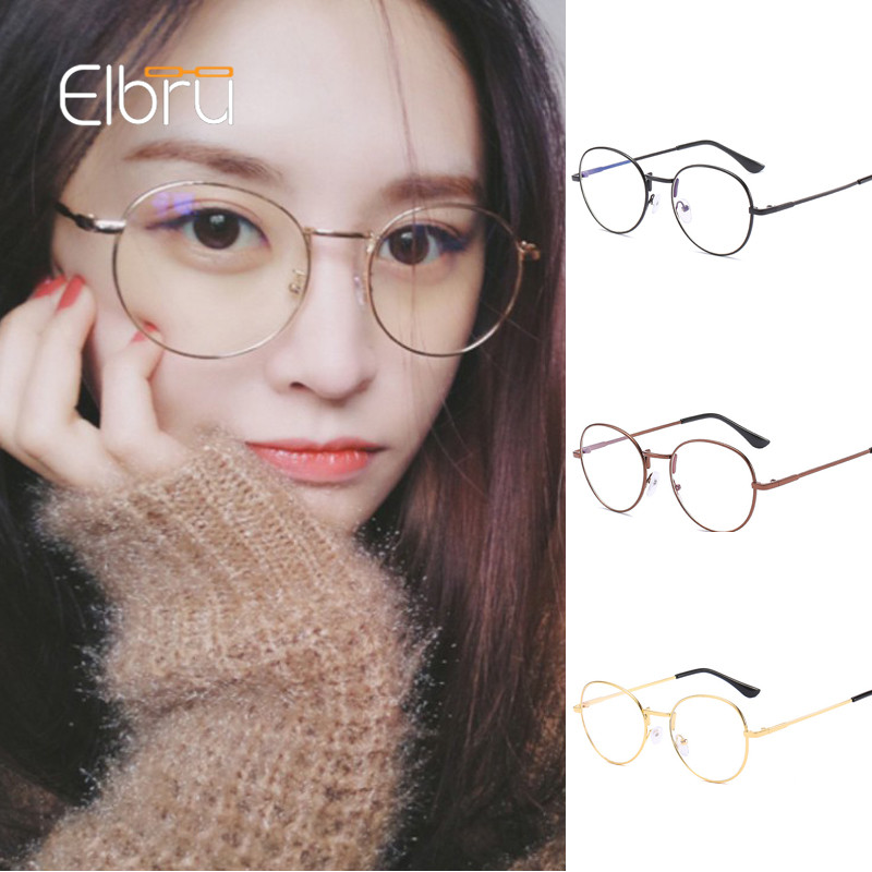Elbru Anti-blue Light Myopia Glasses Women Round Metal Frame Short-sight Eyeglasses With Degree -1.0-1.5-2.0-2.5-3.0-3.5-4.0