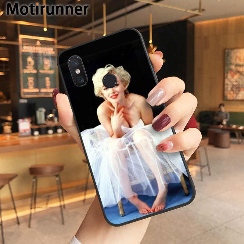 Motirunner Marilyn Monroe Preto TPU Macio Phone Case Capa para Xiaomi Redmi 8 9 se 5X 6pro 6A 4X7 5plus nota 5 7 6pro