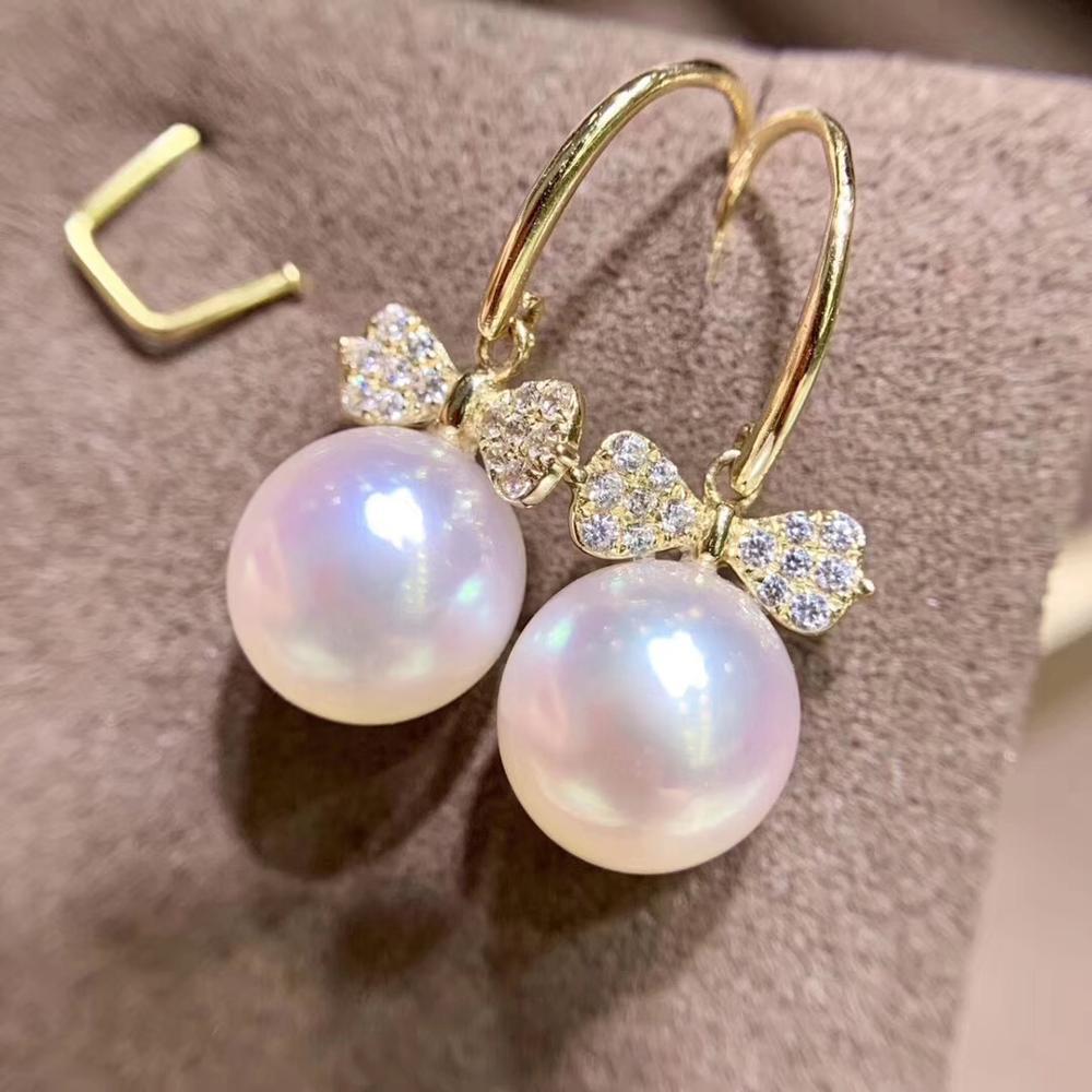 Conception de nœud de mariée 14K or boucles d'oreilles montage paramètres résultats de bijoux pour perles perles cristal corail Agate pierres