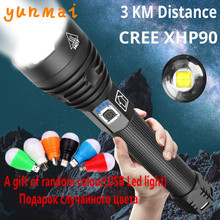 yunmai Newest XHP90 Rechargeable LED Flashlight XHP70.2 Tactical Torch Waterproof Zoom Hunting Light Use18650 or 26650 Battey