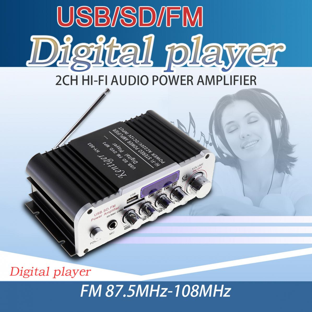 Car Amplifiers HI-FI Bluetooth Car Audio Power Amplifier FM Radio Player Support SD / USB / DVD  Input for Car Motorcycle Home