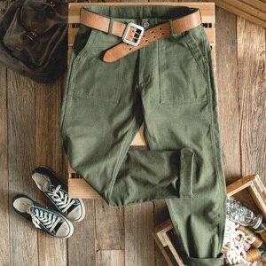 Image 5 - Maden verde calças do exército dos homens macacão retangular reta casual calças retro vintage novo estilo algodão
