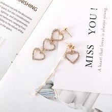 Korean Version of The Heart-shaped Asymmetric Diamond Beads Earrings Metal Point South Korea New