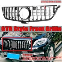 Chrome Silver GTR GT R Style Car Front Bumper Grille Grill Trim For Mercedes For Benz ML W166 2012 2013 2014 Racing Grills