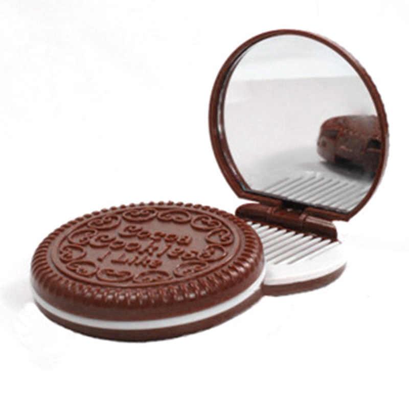 الفتيات الشوكولاته كوكي مرآة قابلة للطي صغيرة مع مشط الأميرة المحمولة بسكويت على شكل شطيرة شكل ماكياج مرآة الجيب للتجميل مرآة TY99