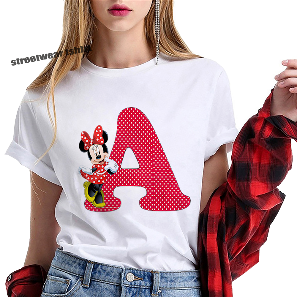 Cute Cartoon Alphabet Minnie Mouse Print Tshirts Women Tees Casual O-Neck Short Sleeve Harajuku Cool T-shirt Female Tops Tshirts