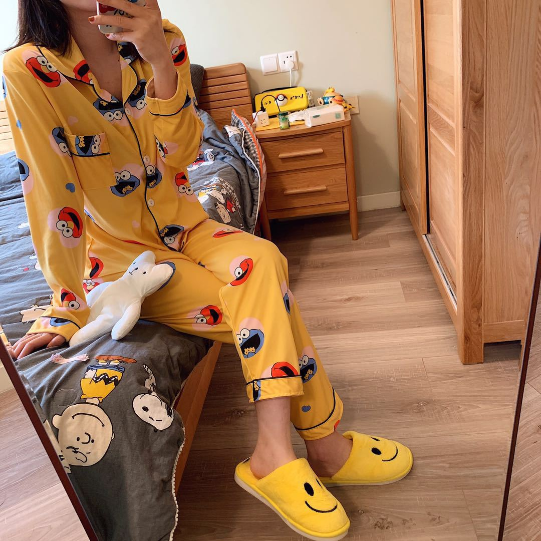 Online Celebrity Hot Selling Pajamas Women's Spring And Autumn Cardigan Fold-down Collar Long Sleeve Cartoon Sesame Street GIRL'