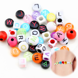 200pcs 6mm 7mm Mixed Letter Beads Square Alphabet Beads round Acrylic Beads DIY Jewelry Making For Bracelet Necklace Accessories