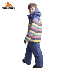 цены 2019 Kids Ski Suit Snowsuit Winter Children Boys Girls Ski Sets Ski Jacket + Strap Pants Snowboarding Sets Outdoor Windproof