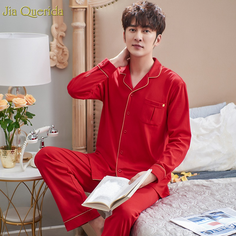 Mens Sexy Pajamas Sleepwear 100% Cotton Luxury Home Clothes Christmas Clothing Chinese Pajamas Wedding Red Pajama Set Men Suit