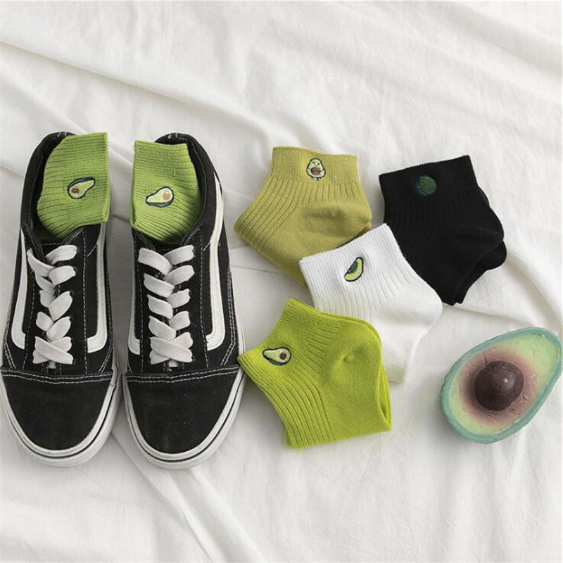 Summer Embroidery Avocado Socks Female Harajuku Cute Cotton Short Socks Fashion Socks Funny Women Creative Chaussette Femme