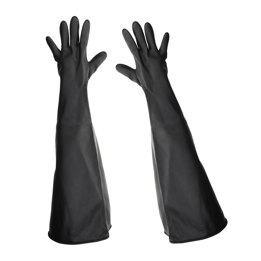 1pair 80cm Industrial Lab Solvent Chemical Resistant Latex Work Gloves Black
