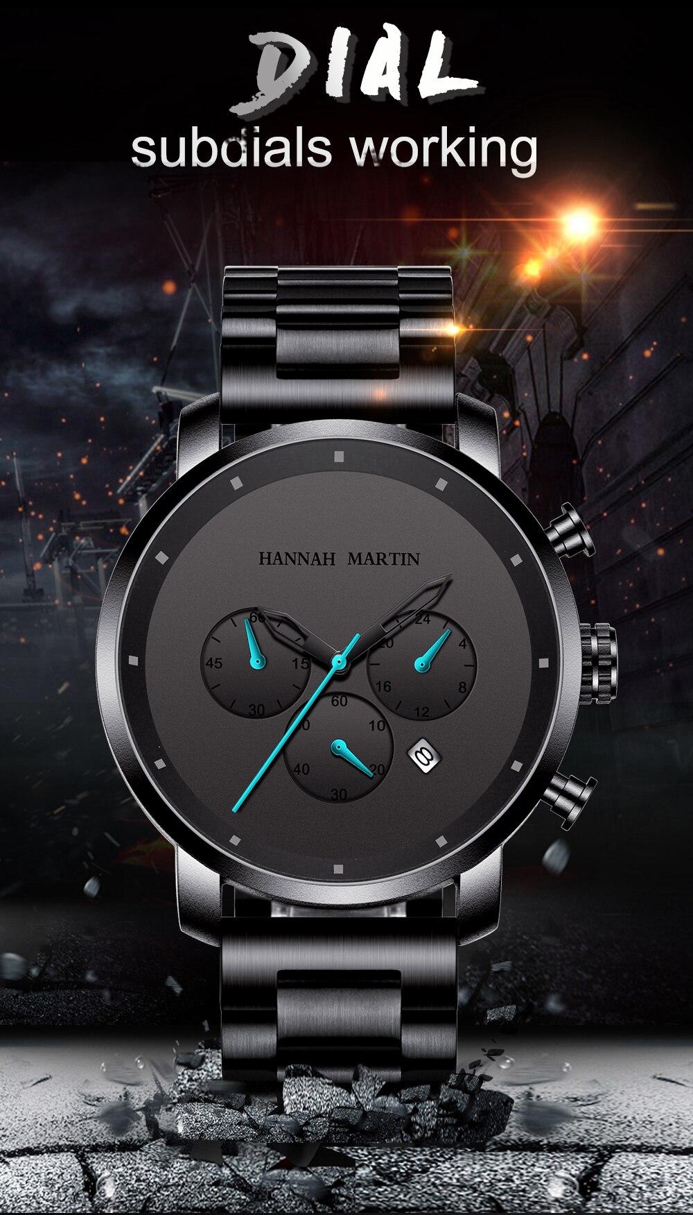 Hb43ceb3e04fa46108a986d1a057c2c97D DropShipping Big Dial 45mm Full Black Stainless Steel Multi-function Calendar Men's Top Brand Luxury Watches Relogio Masculino