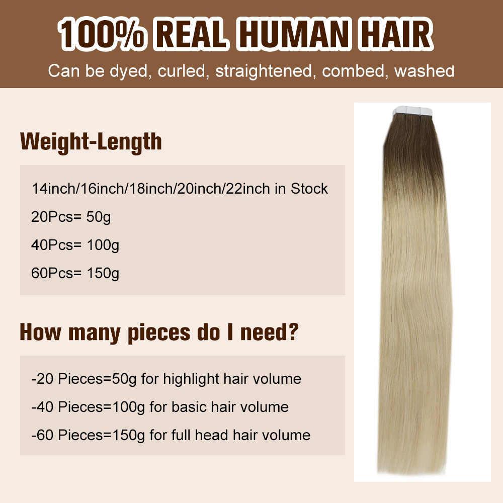 Volledige Shine Tape In Hair Extensions Balayage Kleur 100% Human Tape Op Hair Extensions 50G 20 Stuks Machine Gemaakt remy
