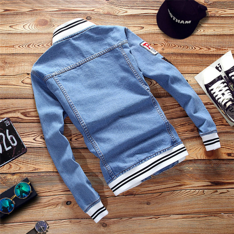 Hb43d0ea9be2c4833929952a33195efcai - New Men's Denim Jacket Spring Casual Coat Outwear Men Stand Collar Motorcycle Cowboy Male Fashion Jacket DA512
