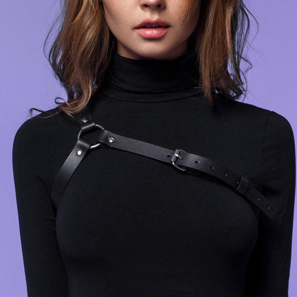 Sexy Black Harness Garter Belt Erotic Accessories Bust Bondage One Shoulder Suspenders Women Harajuku Fetish Chest Cage Bra