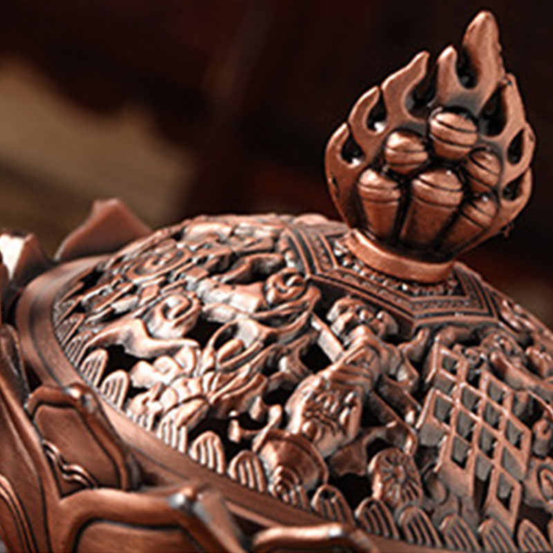 家の装飾香バーナー蓮設計ブロンズクラフト仏教チベット合金ツール宗教 & 精神性ツールグッズ