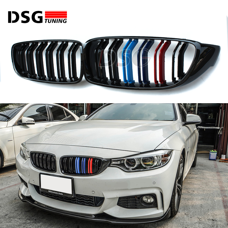 Front Grill Grilles For BMW X5 F15 2014 2015 2016 Carbon Fiber 3 Color 2 Fin