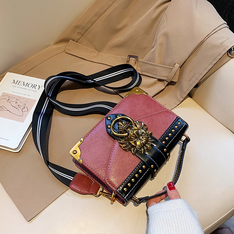 Hb43d42801c084cab849d71ce4e0387b6d - Female Fashion Handbags Popular Girls Crossbody Bags Totes Woman Metal Lion Head  Shoulder Purse Mini Square Messenger Bag