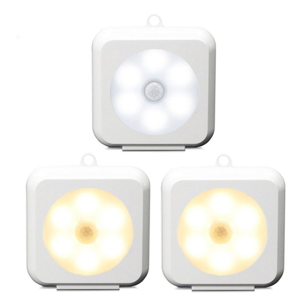 2 Máy Tính Mini LED Tủ Đèn Cảm Biến Chuyển Động Cảm Biến Vuông Hoặc Tròn  Chạy Bằng Pin Đèn Ngủ Cho Cầu Thang, tủ Quần Áo, Tủ Quần Áo - Wadame -