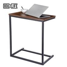 Douxlife Vintage C forme Table basse en bois cadre en métal canapé Table d'appoint Table d'extrémité maison ordinateur bureau supports de rangement meubles meubles de maison table basse de salon