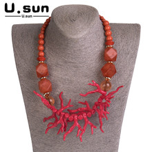 Women Necklaces Jewelry Red Choker Cute Antlers Beads Pendant Resin Acrylic Long Vintage Elegant Statement Fashion