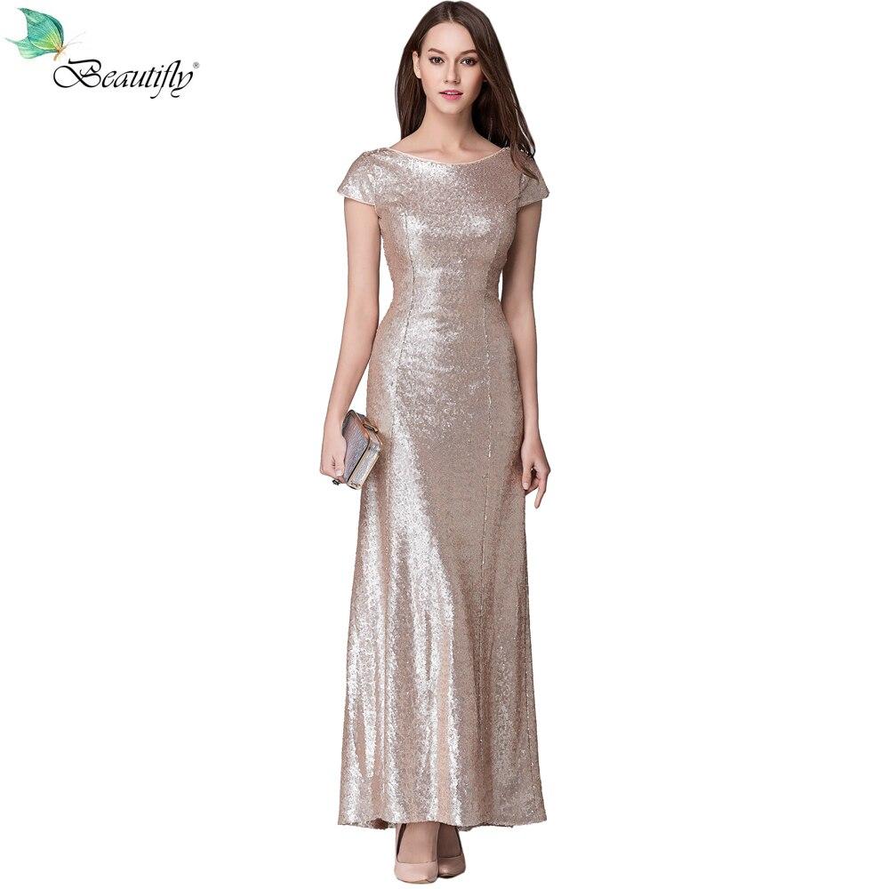 2019 mode Sequin Rose or longue robe de soirée Sexy Zipper dos robes de soirée dos nu-parole longueur Graduation robes de bal