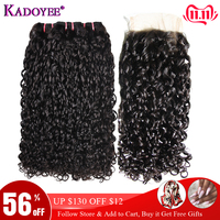 Malaysian Double Drawn Human Hair Pissy Curls With Closure Fumi Hair Weaves Pixie Curls Curly Hair Extensions With Closure curls