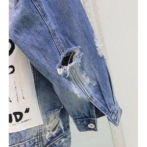 Image 5 - RUGOD płaszcz typu Basic bombowce tkanina w stylu Vintage Patchwork kurtka dżinsowa kobiet kowbojski dżins 2019 jesień postrzępione poszarpane dziury kurtka dżinsowa